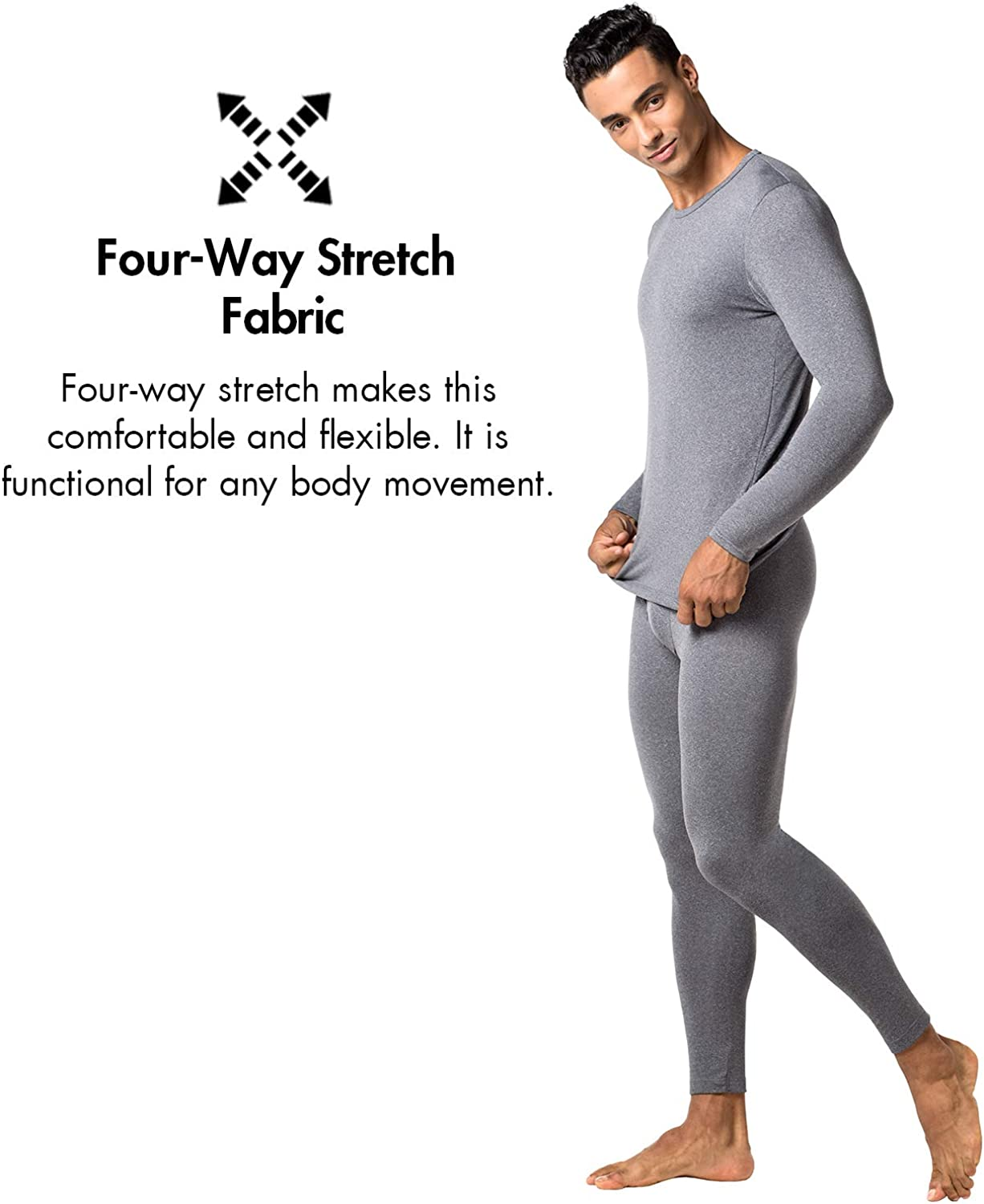 LAPASA Mens Thermal Tops Thermal Underwear Men Fleece Lined Light Weight /& Midweight /& Heavyweight Base Layer 2 Pack or 1 Pack M09/&M55/&M26