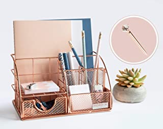 Rose Gold Desk Organiser and Storage for Your Accessories - Cute Office Decor for Women and Girls - Pink Set for Pencil Ho...