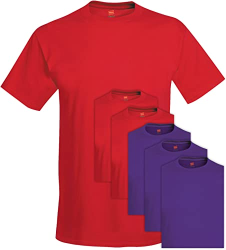 5280 Comfortsoft Hommes 6 Pack Crew Neck Tee Moyen 3 Rouge Profond + 3 Violet