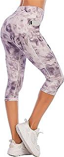 PARWIN High Waisted Women Workout Capris Running Capri Leggings with Pockets