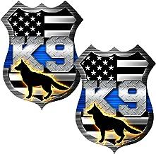 AZ House of Graphics Thin Blue Line K9 Dog Shield Sticker 2 Pack #FS2047 Laminated Tattered Police USA Vinyl Decal Lives Matter Car Truck Bumper Windshield Design