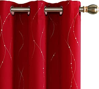 Deconovo Red Blackout Curtains Grommet Drapes Wave Line with Dots Printed Window Curtain Panels for Bedroom Red 38W x 63L Inch Set of 2