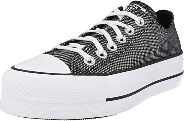 Converse Chuck Taylor All Star Lift Industrial Glam Ox Silver/Black Polyester Adult Trainers Shoes