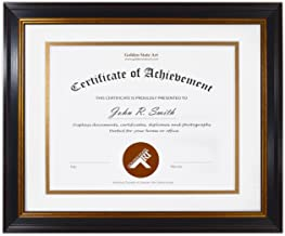 Golden State Art, 11x14 Frame for 8.5x11 Diploma/Certificate, Black Gold & Burgundy Color. Includes White Over Gold Double Mat and Real Glass