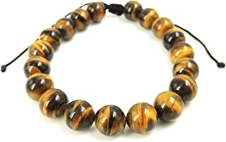 Natural Grade AA Brown Tiger Eye Gemstone Bracelet Minimal Jewelry for Casual Daily Wear Meditation Yoga 10mm Non-Treated Large Beads Handmade Braided Drawstrings Easily Adjustable for Multiple Sizes