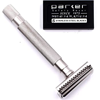 Parker's Semi Slant Safety Razor and 5 Parker Premium Double Edge Razor Blades (Satin Chrome)