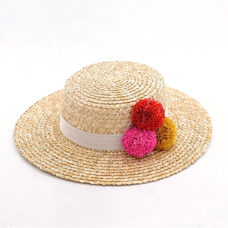 Women's Hat Handmade Lafayette Ball Wheat Straw Hat Lady's Summer Beach Straw Hat.