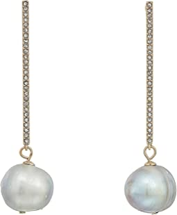 Pave Bar with Fresh Water Pearl Drop Earrings