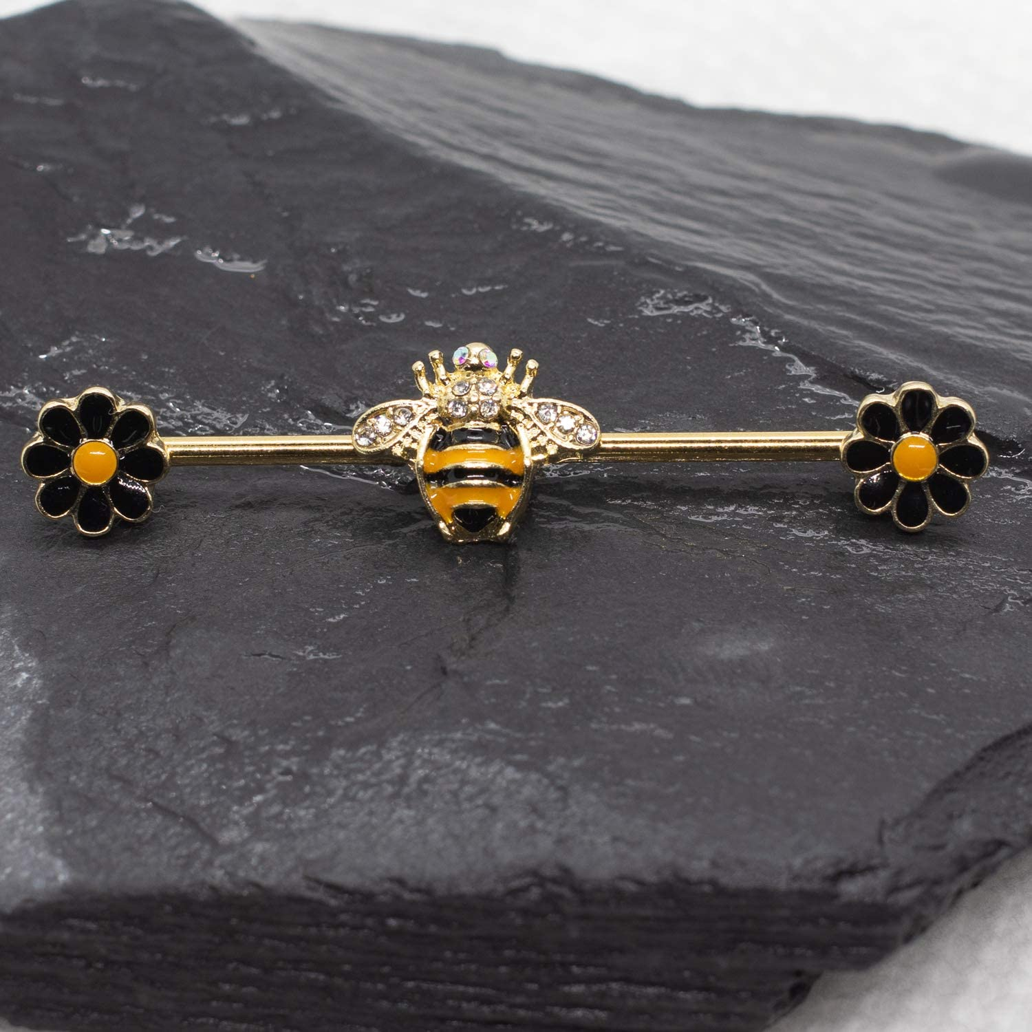 Pierce2GO Gold Industrial Barbell with bee and Flower Pendants