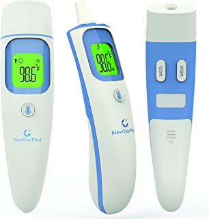 Digital Forehead Ear Thermometer by NewStarMed - Fast Accurate Reading for Baby Kids and Adults - Advanced Smart Infrared Technology - Fever Warning - Mute and Memory Functions - Safe for Newborns