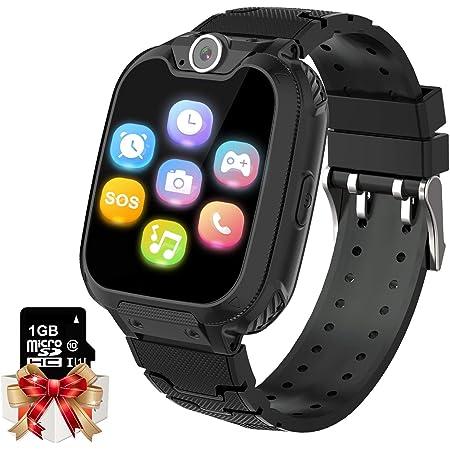 Jeu pour Enfants Smartwatch MP3 Player Music Watch - [1 GB Micro SD Inclus] Écran Tactile 2 Voies Appel SOS Réveil Jeux Caméra Montre au Poignet pour Garçons Filles Anniversaire Jouets Cadeaux (Noir)