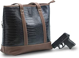 Premium Crocodile Embossed PU Faux Leather Concealed Carry Purse Tote