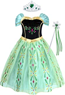AmzBarley Girl Princess Costume Masquerade Birthday Halloween Theme Party Performance Dress Up Dress with Accessories