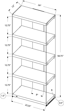 """Monarch Specialties I Bookcase-5-Shelf Etagere Bookcase Contemporary Look with Tempered Glass Frame Bookshelf, 60""""H, (Whi"""