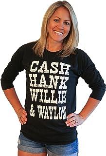 Tough Little Lady Womens Country Cash Hank Willie & Waylon Baseball tee G/B BB