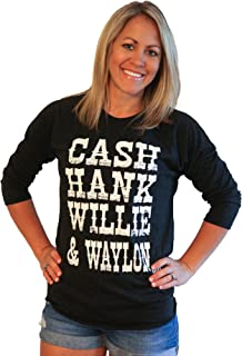 Womens Graphic Shirt Cash Hank Willie & Waylon Baseball tee- G/B BB