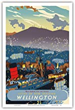 Wellington, New Zealand - The City at Night & RMS Queen Mary I Ocean Liner docked in The Harbor - Vintage World Travel Poster by Howard Malitte c.1950 - Master Art Print - 12in x 18in