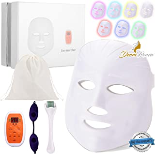 DermRenew 7 Color LED Face Mask, Wireless LED Photon Mask with 540 Titanium Micro Needle Derma Roller, Protective Eye Goggles and Carry Bag, Reusable Facial Skin Care Mask