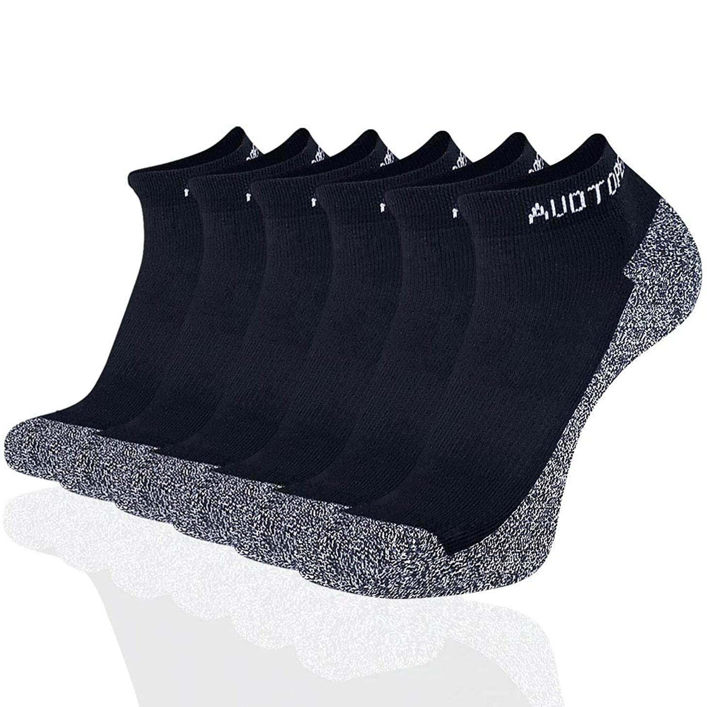 Men's Athletic Cushion Low Cut Ankle Socks for Running, Training, and Hiking (6 Pack)