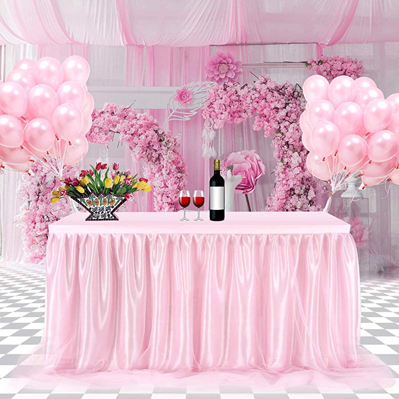 Tulle Table Skirt FAMIROSA Tutu Tablecloth Skirting For Rectangle Or Round Tables For Party Wedding Banquet Baby Shower Christmas Home Decoration L9 Ft H30in Pink