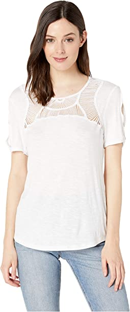 Slub Jersey Short Sleeve Crochet Top