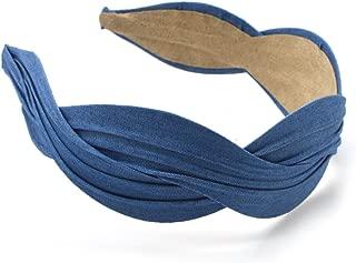Twist Flower Headband - Colorful Jean Chiffon Broad Hairband for women, lady, kids-Girls Hair Band (Blue)