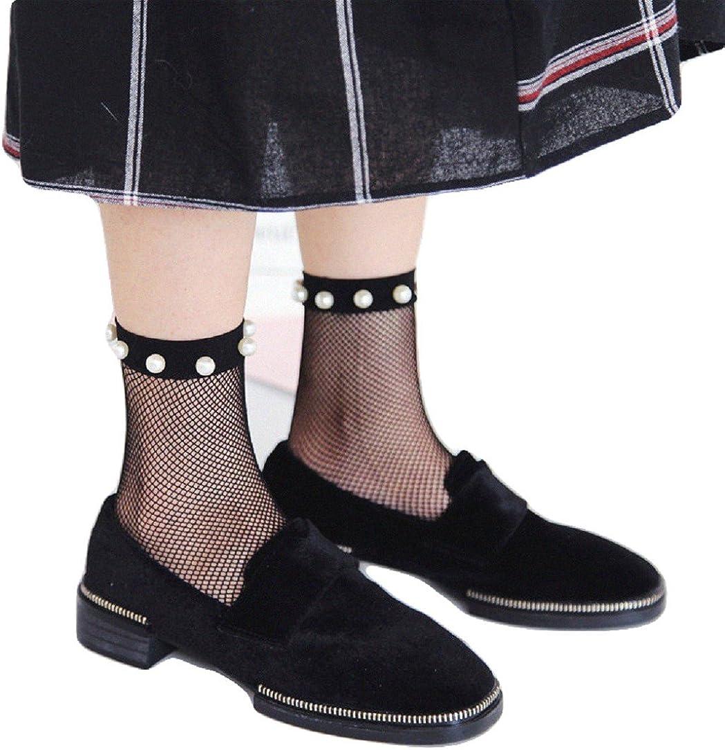 YABINA Lace Mesh Pearl Beads Sheer Socks Ankle Fishnet Socks