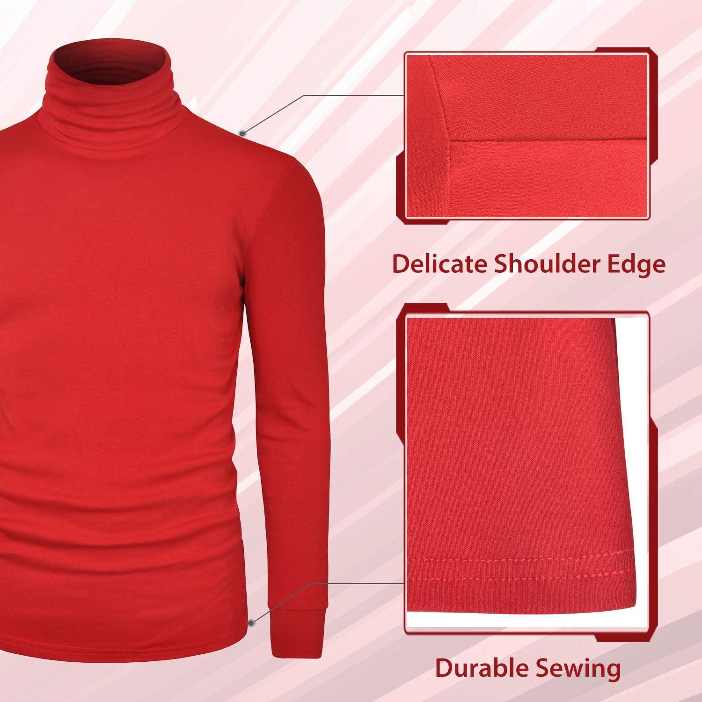 LE VONFORT Mens Turtleneck Long Sleeve T Shirts Slim Fit Thermal Undershirt Lightweight Pullover