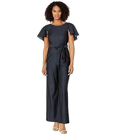 Calvin Klein Flutter Sleeve Jumpsuit w/ Tie Belt (Blue) Women