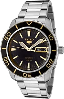 Men's SNZH57 Seiko 5 Automatic Black Dial Stainless-Steel Bracelet Watch