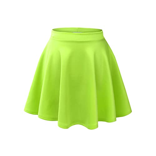 a33c3634ab Made By Johnny Women s Basic Versatile Stretchy Flared Casual Mini Skater  Skirt XS-XXL Plus
