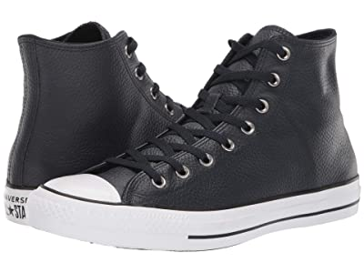 Converse Chuck Taylor All Star Leather Hi (Dark Obsidian/White/Black) Lace up casual Shoes