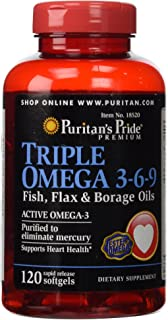 PURITAN'S PRIDE TRIPLE OMEGA 3-6-9 WITH ACTIVE OMEGA-3 120 SOFTGELS FAST DISPATCH