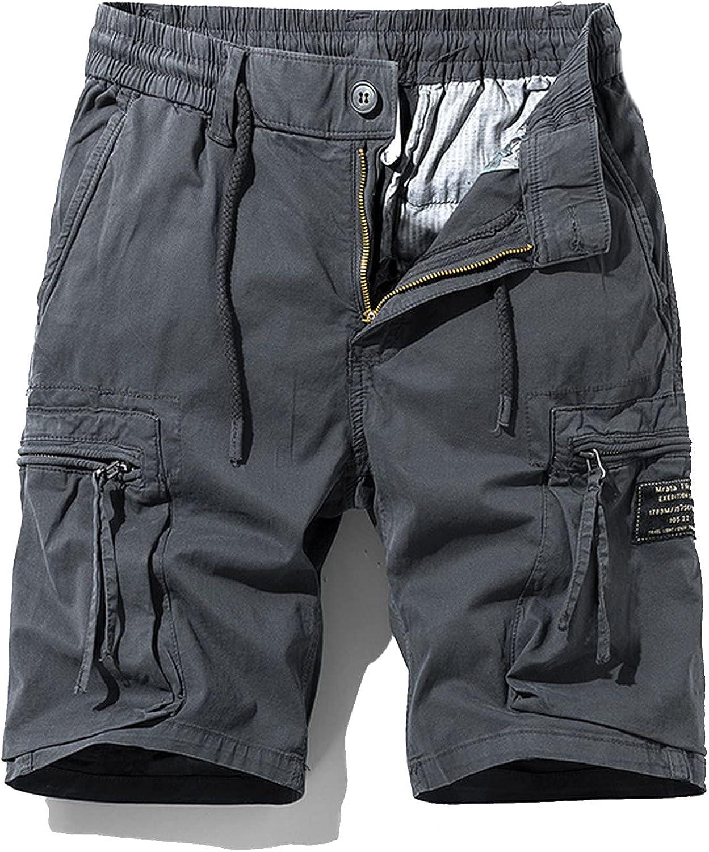 Zhang Q Spring Men Cotton Cargo Shorts Clothing Summer Casual Breeches Bermuda Fashion Beach Pants Los Cortos Short-Gray-27