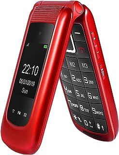 GSM Telefono Cellulare per Anziani,Tasti Grandi,Volume alto,Funzione SOS, Dual SIM,Pantalla 2.4(Rosso)