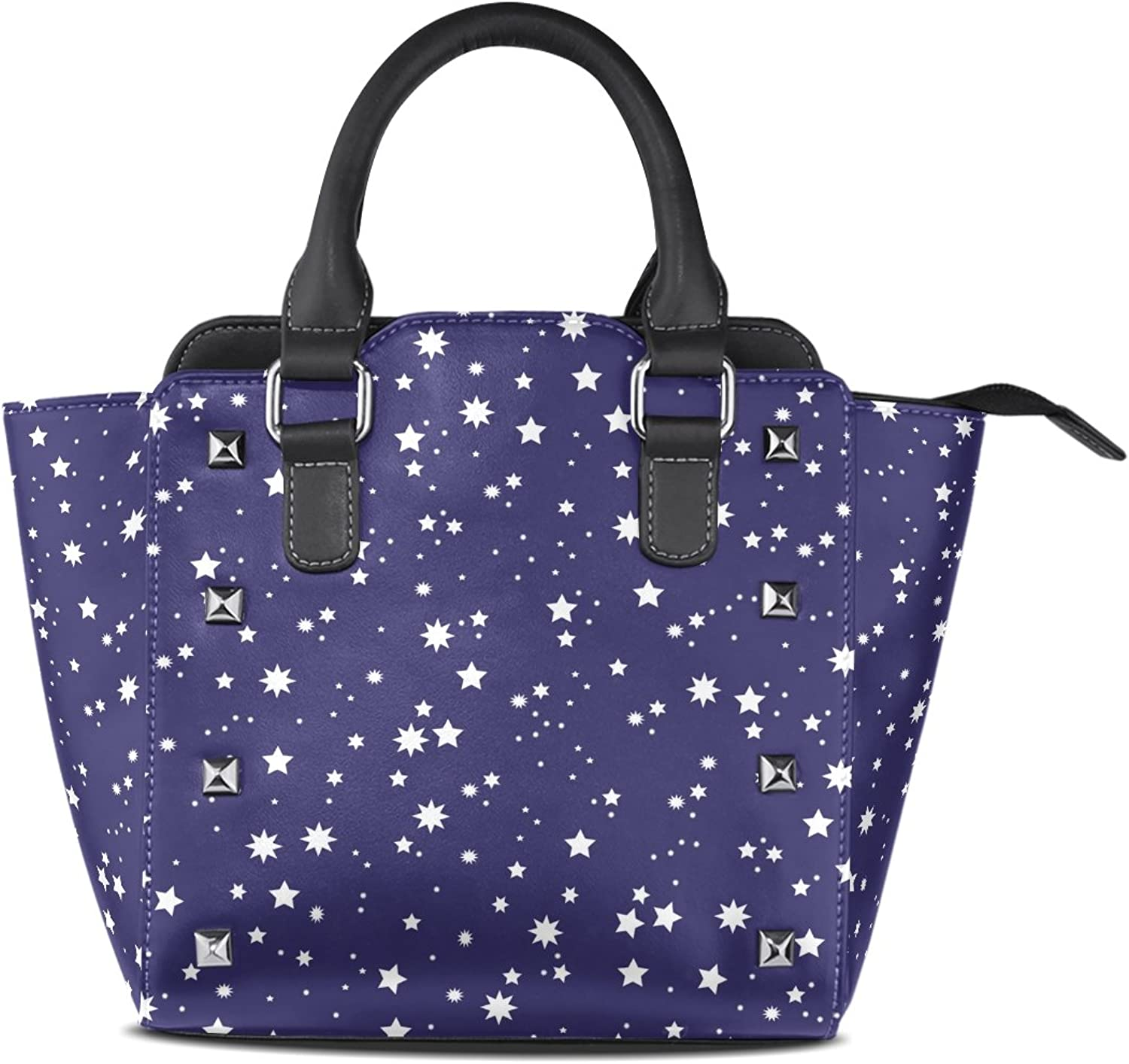 My Little Nest Women's Top Handle Satchel Handbag White Stars Navy bluee Ladies PU Leather Shoulder Bag Crossbody Bag