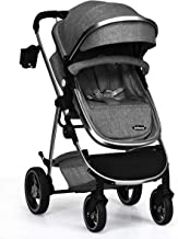 INFANS Newborn Baby Stroller Carriage, 2 in 1 High Landscape Convertible Reversible Bassinet Pram, Foldable Aluminum Alloy Pushchair with Adjustable Canopy, 3D Shock Absorption PU Wheels (Dark Grey)