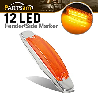 Partsam Amber Led Marker Light Stainless Steel Bezel for Heavy Trucks Rectangular 12 LED Peterbilt-Style Rectangular Marker Light