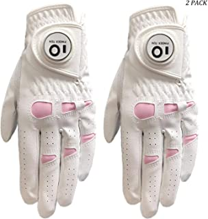 Amy Sport Womens Golf Glove with Ball Marker Left Right Hand Leather Value 2 Pack, Rain All Weather Grip Pink Gloves for Ladies Girls Size Small Medium Large XL