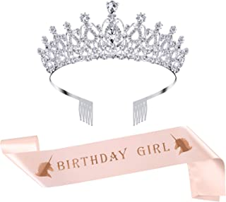 SATINIOR Birthday Crown Rhinestone Crystal Decoration Headband Prom Queen Crown with Rose Gold Birthday Girl Sash (Silver)