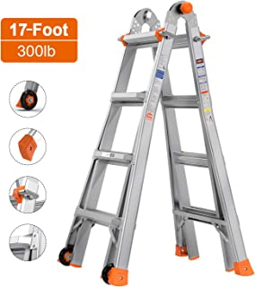"""Extension Stable Ladder TACKLIFE, 17-Foot, 5 in 1 Multi-Use, Telescopic Ladder with Wheels, 300lb Max Duty, Rivet Link, """"J"""" Lock Quick Lock System, High Anti-Skid LD01A"""