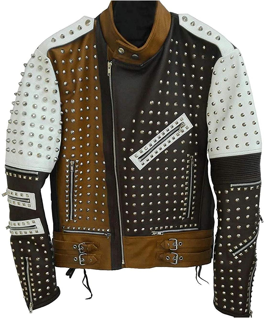 Mens Studded Jacket with Spikes Funky Style Rock Punk Leather Jacket