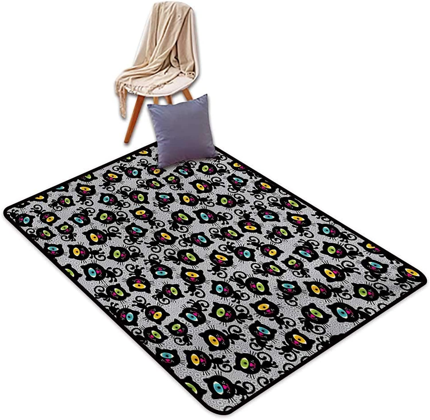 Cat Household Bathroom Door mat Kitty Forms with Trippy Eye on Head Freaky Spiritual Kitten Pets Animal Graphic Style Water Absorption, Anti-Skid and Oil Proof 48  Wx59 L Black Grey