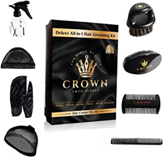 Crown Box – Men's Grooming Kit – 9 in 1 Kit Includes: 2 Durags, Wave Brush, Beard Brush, Crown Brush, Wood Comb, Spray Bot...