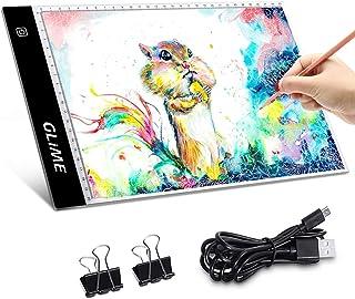 Mesa de Luz Dibujo A4, GLIME LED Tableta de Luz de Iluminación de la Caja de Alimentación Micro USB Ideal para Animacion Tatoo Dibuja