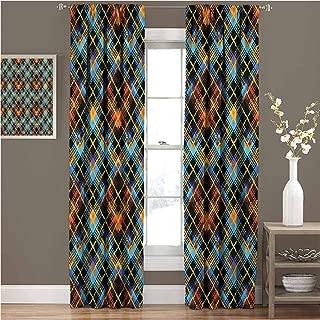 GUUVOR Plaid Room Darkened Curtain Modern Geometric Tartan Insulated Room Bedroom Darkened Curtains W72 x L108 Inch