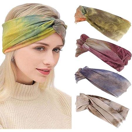 Sethain Boho Breit Stirnband Yoga Bandeau Elastisch Haarband Bandana drucken Dehnbare Kopfbedeckung F/ür Frauen und M/ädchen (4er Pack)