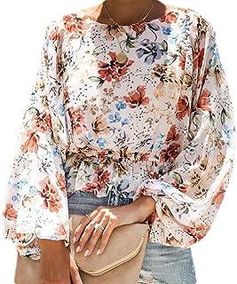GUOCAI Women's Fashion O Neck Lantern Sleeve Floral Print Loose Chiffon Shirts