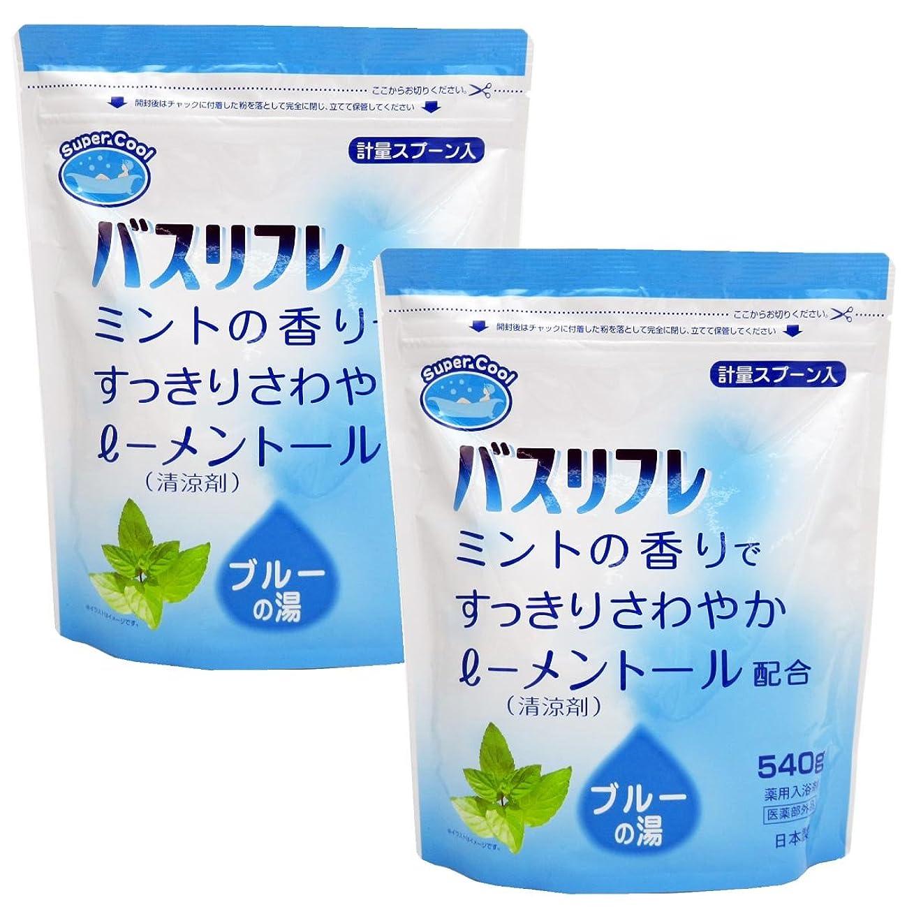 成熟対角線傾斜入浴剤 クール 薬用入浴剤 バスリフレ スーパークール540g×2個セット 日本製