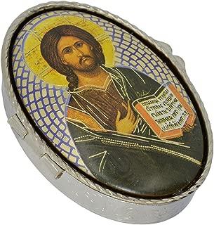 Bo/îte /à chapelet 5x3,5cm porte hostie boite hostie malade Calice Communion Motif II custode en m/étal argent/é -